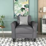 New U-STYLE Polyester Upholstered Armchair with Wooden Frame, and Plastic Legs, for Living Room, Bedroom, Office, Apartment – Light Gray