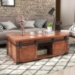 New U-STYLE 48″ Rectangle Wooden Coffee Table, with Sliding Doors, Storage Shelf and Cabinets, for Kitchen, Restaurant, Office, Living Room, Cafe – Brown