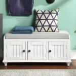 New U-STYLE 42.1″ Storage Bench with 2 Cabinets, and Wooden Frame, for Entrance, Hallway, Bedroom, Living Room – White