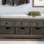 New U-STYLE 44″ Storage Bench with 3 Drawers, 3 Baskets, and Wooden Frame, for Entrance, Hallway, Bedroom, Living Room – Gray