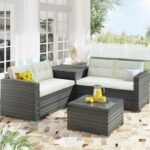 New U-STYLE 5 Pieces Outdoor Rattan Furniture Set, Including 2 2-Seat Sofa, 1 Coffee Table, and 1 Storage Box, for Garden, Terrace, Porch, Poolside, Beach – Beige