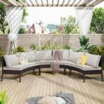 New U-STYLE 3 Pieces Outdoor Rattan Furniture Set, Including 3 Curved Armless Sofas, and 9 Cushions, for Garden, Terrace, Porch, Poolside, Beach – Beige