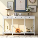 New U-STYLE 58″ Modern Style Wooden Console Table with 3 Storage Drawers, and Bottom Shelf, for Entrance, Hallway, Dining Room, Kitchen – White