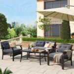 New U-STYLE 4 Pieces Outdoor Rattan Furniture Set, Including 2 Chairs, 1 Loveseat, and Coffee Table, for Garden, Terrace, Porch, Poolside, Beach – Gray