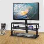 New 44.1″ Height Adjustable TV Stand with 3-Layer Storage Shelf, Suitable for Placing 32~65 inch TVs, for Living Room, Entertainment Center – Black