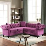 New 80″ 5-Seat Velvet Tufted Upholstered L-shaped Sofa with 3 Pillows, and Wooden Frame, for Living Room, Bedroom, Office, Apartment – Purple