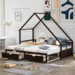 New Twin Size Wooden Extending Daybed with 2 Storage Drawers, Space-saving Design, No Box Spring Needed – Espresso