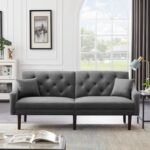 New 74.8″ 2-Seat Velvet Upholstered Sofa Bed with 2 Pillows, and Wooden Frame, for Living Room, Bedroom, Office, Apartment – Gray