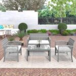 New TOPMAX 4 Pieces Outdoor Rattan Furniture Set, Including 2 Armchairs, Loveseat, Tempered Glass Coffee Table, and 3 Cushions, for Garden, Terrace, Porch, Poolside – Gray