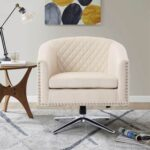 New COOLMORE Velvet Swivel Chair with Curved Backrest and Metal Base for Living Room, Bedroom, Dining Room, Office – Beige