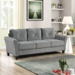 New 80.3″ 3-Seat Fabric Upholstered Sofa with Wooden Frame, for Living Room, Bedroom, Office, Apartment – Gray