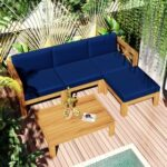 New TOPMAX 5 Pieces Outdoor Wooden Furniture Set, Including 2 Corner Sofas, Armless Sofa, Coffee Table, and Ottoman, for Garden, Terrace, Porch, Poolside – Blue