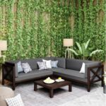 New TOPMAX 4 Pieces Outdoor Wooden Furniture Set, Including Right-side Armchair, Left-side Armchair, Corner Chair, Coffee Table, and 3 Cushions, for Garden, Terrace, Porch, Poolside – Gray