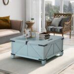 New U-STYLE 35″ Farmhouse Style Square Wooden Lift Coffee Table, with Storage Space, for Kitchen, Restaurant, Office, Living Room, Cafe – Green