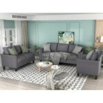 New U-STYLE 3 Pieces Polyester Blend Upholstered Sofa Set, Including 1 Loveseat, 1 3-Seat Sofa, and 1 Armchair, for Living Room, Bedroom, Office, Apartment – Gray