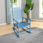 New Wooden Rocking Chair with Armrests and Slats Support, for Garden, Terrace, Porch, Poolside, Beach – Blue