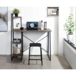 New Home Office Computer Desk with 4-Layer Storage Shelf, Wooden Tabletop and Metal Frame, for Game Room, Office, Study Room – Walnut + Black