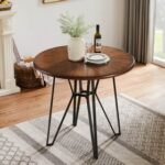 New 40″ Round Dining Table with Wooden Tabletop and Metal Frame, for Restaurant, Cafe, Tavern, Living Room – Brown