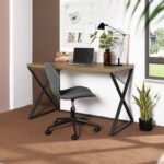 New Home Office 47.2″ L Computer Desk with Wooden Tabletop and Metal Frame, for Game Room, Office, Study Room – Light Brown