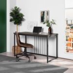 New Home Office 47.2″ L Computer Desk with Wooden Tabletop and Metal Frame, for Game Room, Office, Study Room – Walnut