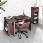 New Home Office 47.4″ L Computer Desk with Movable Bookcase and Wooden Frame, for Game Room, Office, Study Room – Walnut