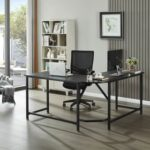 New Home Office 59″ L-Shaped Computer Desk with MDF Tabletop and Metal Frame, for Game Room, Office, Study Room – Black