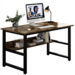 New Home Office 48″L Computer Desk with Wooden Tabletop and Metal Frame, for Game Room, Office, Study Room – Dark Brown