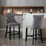 New Velvet Upholstered Dining Chair Set of 2, with Curved Tufted Backrest, and Wooden Legs, for Restaurant, Cafe, Tavern, Office, Living Room – Gray