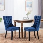 New Velvet Upholstered Dining Chair Set of 2, with Curved Backrest, and Wooden Legs, for Restaurant, Cafe, Tavern, Office, Living Room – Blue