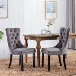 New Velvet Upholstered Dining Chair Set of 2, with Tufted Backrest, and Wood Legs, for Restaurant, Cafe, Tavern, Office, Living Room – Gray