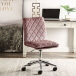 New ACME Aestris Modern Leisure Velvet Swivel Chair Height Adjustable with Backrest and Casters for Living Room, Bedroom, Dining Room, Office – Pink
