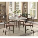 New ACME Aldric Round Dining Table with Faux Marble Tabletop and Metal Legs, for Restaurant, Cafe, Tavern, Living Room – White