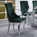 New ACME Dekel Fabric Upholstered Dining Chair Set of 2, with Button Tufted Backrest, and Metal Legs, for Restaurant, Cafe, Tavern, Office, Living Room – Green