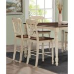 New ACME Dylan Counter Height Dining Chair Set of 2, with High Backrest, and Wooden Legs, for Restaurant, Cafe, Tavern, Office, Living Room – Oak