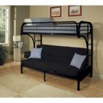 New ACME Eclipse Twin XL-Over-Queen Size Bunk Bed Frame with Ladders, and Metal Slats Support, No Spring Box Required, for Kids, Teens (Frame Only) – Black