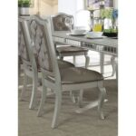 New ACME Francesca PU Upholstered Dining Chair Set of 2, with Button Tufted Backrest, and Wooden Legs, for Restaurant, Cafe, Tavern, Office, Living Room – Silver