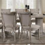 New ACME Gabrian Fabric Upholstered Dining Chair Set of 2, with High Backrest, and Wood Legs, for Restaurant, Cafe, Tavern, Office, Living Room – Gray