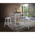 New ACME Gaucho 5 Piece Counter Height Dining Set, Including 1 Table, and 4 Stools, for Small Apartment, Studio, Kitchen – White