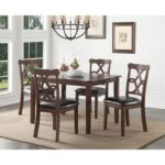 New ACME Ingeborg 5 Piece Dining Set, Including 1 Table, and 4 PU Chairs, for Small Apartment, Studio, Kitchen – Espresso