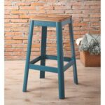 New ACME Jacotte Wood Bar Stool with Metal Legs, for Restaurant, Cafe, Tavern, Office, Living Room – Teal