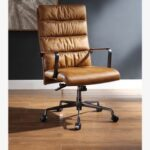 New ACME Jairo Leather Upholstered Swivel Office Chair, with High Backrest, and Metal Frame, for Restaurant, Cafe, Tavern, Office, Living Room – Brown