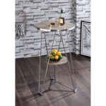 New ACME Jarvis Dining Table with Wooden Tabletop and Chrome Frame, for Restaurant, Cafe, Tavern, Living Room – Gray