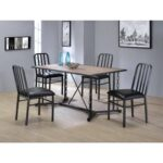 New ACME Jodie PU Upholstered Dining Chair Set of 2, with Slatted Backrest, and Metal Legs, for Restaurant, Cafe, Tavern, Office, Living Room – Black
