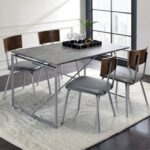 New ACME Jurgen Dining Table with Wooden Tabletop and Metal Legs, for Restaurant, Cafe, Tavern, Living Room – Silver