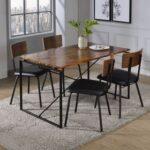 New ACME Jurgen Dining Table with Wooden Tabletop and Metal Legs, for Restaurant, Cafe, Tavern, Living Room – Oak