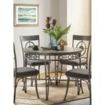 New ACME Landis Round Dining Table with Wooden Tabletop and Metal  Legs, for Restaurant, Cafe, Tavern, Living Room – Oak