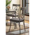 New ACME Landis Fabric Upholstered Dining Chair Set of 2, with High Backrest, and Metal Legs, for Restaurant, Cafe, Tavern, Office, Living Room – Gunmetal
