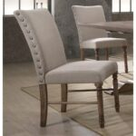 New ACME Leventis Linen Upholstered Dining Chair Set of 2, with Curved Backrest, and Wood Legs, for Restaurant, Cafe, Tavern, Office, Living Room – Cream