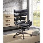 New ACME Megan Modern Leisure Leather Swivel Chair Height Adjustable with Curved Backrest and Casters for Living Room, Bedroom, Dining Room, Office – Black