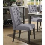 New ACME Merel Fabric Upholstered Dining Chair Set of 2, with Button Tufted Backrest, and Wood Legs, for Restaurant, Cafe, Tavern, Office, Living Room – Gray
